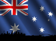 Sydney skyline with Australian flag Stock Images