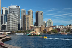 Sydney Skyline Circular Quay. City of Sydney, New South Wales territory/Australia. View from famous Opera house to Circular Quay (centre) and the historic royalty free stock images