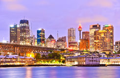 Sydney skyline and Darling Harbour at twilight Stock Photos