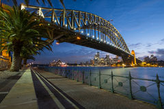 Sydney Skyline At Dusk Arkivfoto