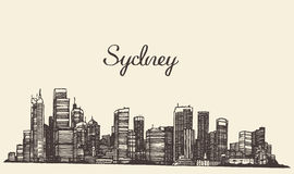 Sydney skyline engraved hand drawn sketch Stock Image