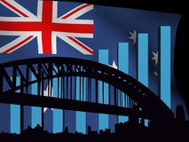 Sydney skyline and graph over flag Stock Photography