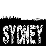 Sydney skyline with grunge text Stock Photos