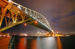Sydney Skyline and Harbor Bridge at night Stock Photos