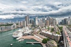 Sydney skyline from Harbour Bridge, Australia Royalty Free Stock Photo