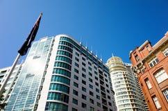 Sydney skyline with high rise buildings and Australian flag Stock Photography