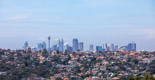 Sydney Skyline with houses in the foreground Royalty Free Stock Image