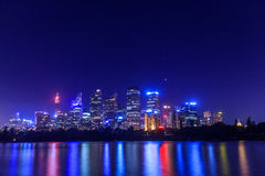 Sydney Skyline. A night time shot of the Sydney skyline taken from Mrs Macquarie's Chair Stock Images