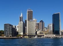 Sydney skyline from sea Royalty Free Stock Images