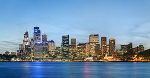 Sydney skyline after sunset. As viewed south across the harbour from Kirribilli Royalty Free Stock Image