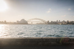 Sydney skyline at the sunset Stock Images