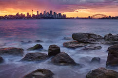 Sydney Skyline Sunset Royalty Free Stock Photo