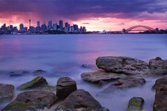Sydney Skyline Sunset Royalty Free Stock Photography
