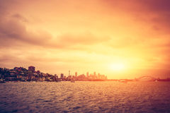 Sydney skyline at sunset Royalty Free Stock Photos