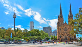 Sydney skyline with Sydney Tower and St Mary's Cathedral in Sydney Stock Photo