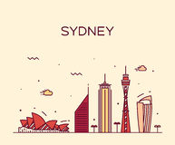Sydney skyline trendy vector illustration linear Royalty Free Stock Photo