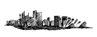 Sydney skyline vector hand drawing Stock Photo