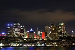 Sydney skyline wharves at night Royalty Free Stock Photo