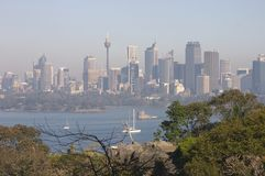 Sydney On A Smoggy Day. Sydney skyline and harbour on a smoggy day Stock Photography