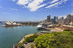 Sydney Solstice From Bridge Day. Iconic landmarks of Sydney city - CBD, circular quay, overseas passenger terminal, the Rocks on a sunny summer day from elevated Stock Photo