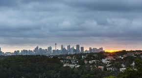 Sydney stad under solnedgång fotografering för bildbyråer