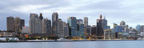 Sydney-Stadtpanorama bei Sonnenaufgang Stockbilder