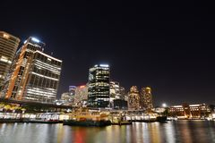 Night view. Circular Quay and Central Business District. Sydney. New South Wales. Australia Royalty Free Stock Image