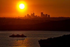 Sydney sunset with Manly ferry Stock Photography