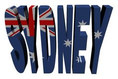 Sydney text with Australian flag Stock Image