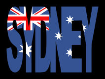 Sydney text with flag Royalty Free Stock Photography