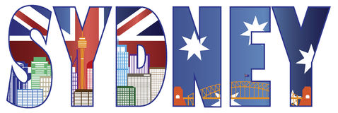 Sydney Text Outline con l'illustrazione di colore dell'orizzonte Immagine Stock Libera da Diritti
