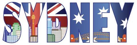 Sydney Text Outline med horisontfärgillustrationen stock illustrationer