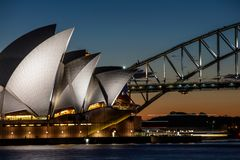 Sydney 13th August 2016 - Sydney Opera House at dusk, Sydney Australia royalty free stock photos