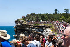 Sydney to Hobart race start. Crowds gather on the coast to watch the start of the Sydney to Hobart yacht race stock image