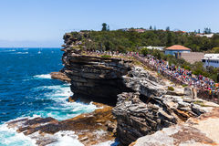 Sydney to Hobart race start. Crowds gather on the coast to watch the start of the Sydney to Hobart yacht race royalty free stock photos