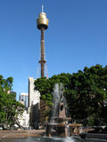 Sydney tower. Park fountain with the Sydney tower with clear blue sky in background. Sydney, NSW (New South Wales), Australia Stock Photography