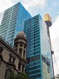 Sydney Tower and Modern Skyscraper, Australia. Sydney City CBD architecture, with the Sydney Tower, blue glazed skyscrapers and an historic commercial building Stock Image
