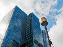 Sydney Tower and Modern Skyscrapers, Australia. Sydney City CBD architecture, with the Sydney Tower, blue glazed skyscrapers, Sydney, NSW, Australia Royalty Free Stock Photo