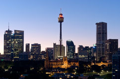 Sydney Tower and Skyline at Dusk Royalty Free Stock Photos