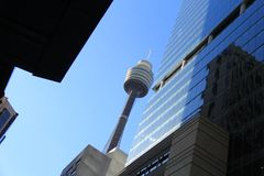 Sydney Tower street view Royalty Free Stock Photos