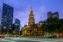 Sydney Town Hall in sydney central business district. The Sydney Town Hall is a late 19th-century heritage-listed town hall building in the city of Sydney, the stock images