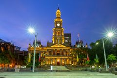 Sydney Town Hall in sydney central business district. The Sydney Town Hall is a late 19th-century heritage-listed town hall building in the city of Sydney, the stock photography