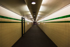 Sydney underground tunnel. A short section of walkway in the Sydney underground tube system royalty free stock image