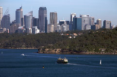 Sydney, view with city skyline and harbour Stock Images