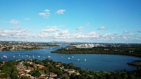 Brays Bay @ Rhodes Sydney. Parramatta River and Sydney city landscape water view of Brays Bay in Rhodes, Sydney NSW  Australia aerial Stock Photos