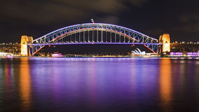 Sydney Vivid Bridge panorama Stock Images