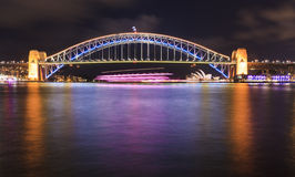 Sydney Vivid Bridge Side03 Pan Royalty Free Stock Photos