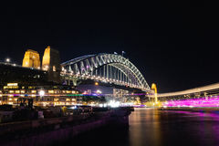 Sydney Vivid light festival 2014 Harbour Bridge Stock Photo