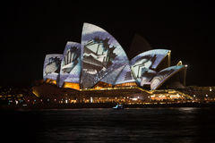 Sydney Vivid light festival 2014 Opera house. Image of the Opera house was taken at the Sydney Vivid festival 2014 edition.  Beautiful light continuously being Royalty Free Stock Photography