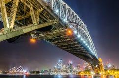 Sydney von unterhalb der Hafen-Brücke Stockbilder